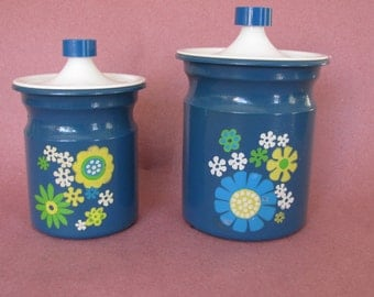 Kromex Kitchen Canisters, Blue Daisy Pattern Kitchen Lidded Storage Canister, Retro Modern Kitchen Storage Flour and Sugar Canister