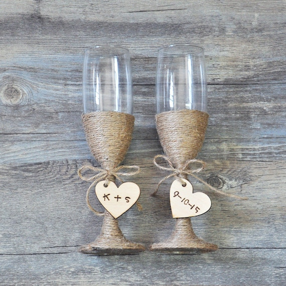 custom wedding glasses toasting flutes glasses personalized rustic