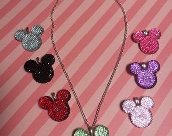 Rhinestone Mickey Pendant Necklace