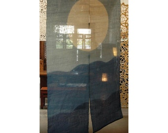 "traditional linen noren, door way curtain. (AA1) 35""W x 59""L"