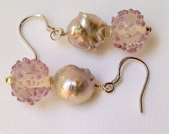 Bold mauve and silver earrings. Matches necklace in shop. #64