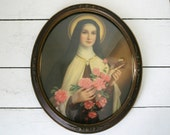 LARGE French Antique Ex VOTO curved glas Saint Therese of Jesus 1900 wall hanging / Thérèse of Lisieux / Chromolitographie Vintage French