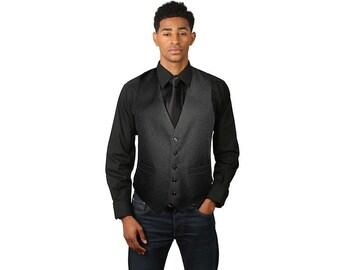 Men's black full back dress vest