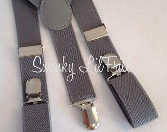 Grey Boys Suspenders, Grey Wedding, Ring Bearer, Suspenders, Toddler Suspenders, Braces, Adjustable Suspenders, Ring Boy Suspenders
