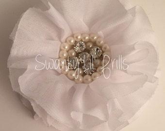 White Chiffon Flower With Pearls, White Flower, White Chiffon Flower