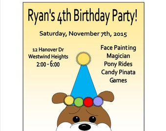 10 Bulldog Party Invitations For Boys and Girls. Personalized