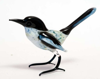 Glass Hand-Blown Glass Magpie Collectible  Figurine