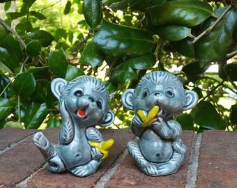 Vintage Norleans Monkey Figurines, JAPAN, Vintage Monkey Figurines, Ceramic Monkey Figurines, Vintage Monkeys, Japan Monkeys, Norleans
