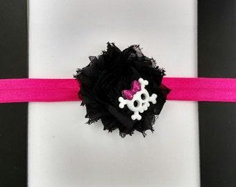 Skull, crossbones, punk, rock, princess, black, pink, glitter, flower, bow, headband, baby, toddler