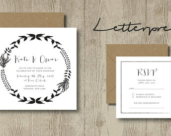 Letterpress Wedding Stationery Invitation set- Vintage Including Envelopes
