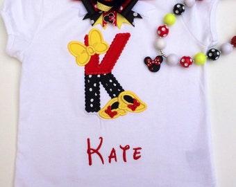 Girls Minnie Mouse Inspired t-shirt / girls Minnie mouse outfit/ girls minnie mouse applique shirt