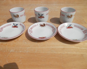 3 Saki Cups with 3 Saucers marked in Red