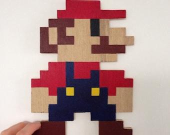8Bit Pixel Mario - Handmade wooden Mario from Super Mario wall plaque or gift.