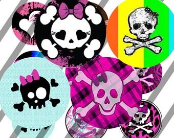 INSTANT DOWNLOAD -Girly Skulls - Bottlecap Images Digital Collage Sheet - One Inch - 4x6 Bottle Caps