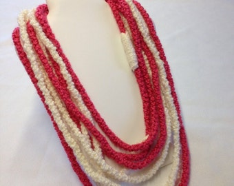 infinity necklace, Ichord necklace, knit necklace, hand knit necklace, scarf necklace, gift idea, Multistrand necklace, pink white Ichord