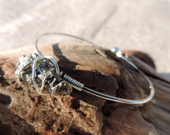 silver bangle with wire wrapped free form pyrite bracelet