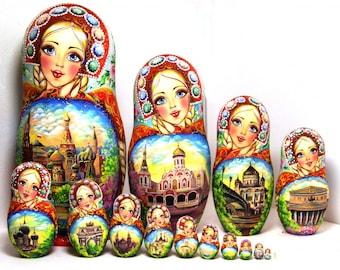 "Nesting doll (artwork) 15 pcs ""Moscow rhinestones"""