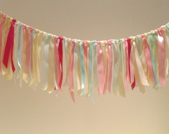 CLEARANCE 33% OFF Ribbon Garland in Pink, Cream and Mint - Party, Wedding, Nursery - 1 Metre