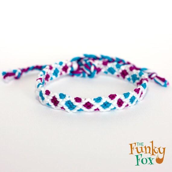 teal purple friendship bracelet diamond stripe blue. Black Bedroom Furniture Sets. Home Design Ideas