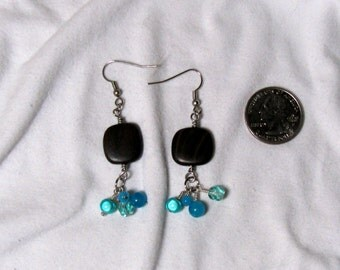 Blue and Wood Earrings