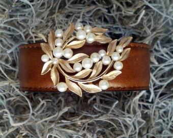 Pearl & Gold Leaf Leather Cuff