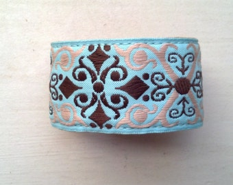 Embroidered Fabric Aqua Cuff