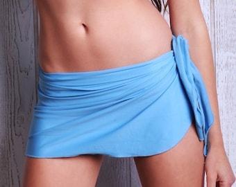 Short Swimwear Sarong / Lycra Sarong / 8 colors / Bikini wrap / Blue wrap