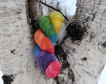 Hand dyed arctic rainbow sock yarn 410 yards