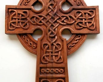 Celtic Cross Wood carving, Handmade Woodcarving, 16,1 x 11,4 in.