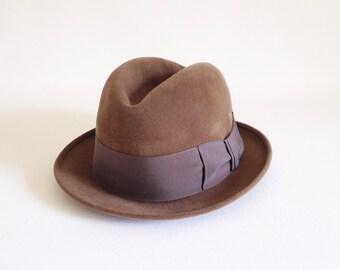 Men's Hat - Guilliani Gallieni Brown Felt Men's Hat - Brown Felt Hat - Fedora - Mid Century Brown Felt Hat - Men's Hat - Brown