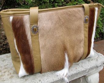 large tote bag,springbok leather tote bag,springbok tote bag with decorative agate concho