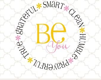 SVG Be-attitudes circle design BE YOU floral design