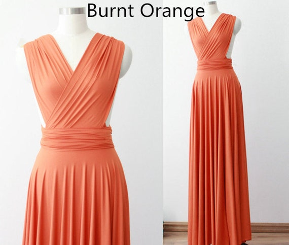 Burnt Orange Evening Dress / Prom Dress / Convertible By