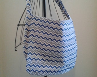 Blue and Gray Chevron Messenger Bag