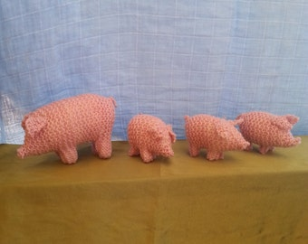 Beautiful Steiner Waldorf 100% wool hand knitted pigs.