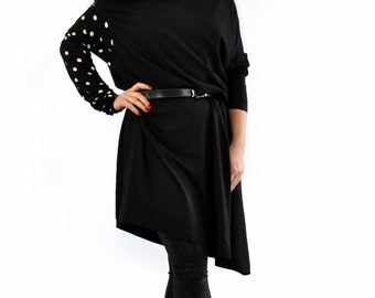 Woman black Long dress/casual loose caftan tunic/Oversize tunic/sleeves tunic/Maxi tunic/Maxi long dress/Long sleeves tunic dress/T1426