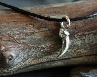 Fox Claw on Leather Cord Necklace (Sterling Silver Charm)