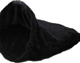 """Sm 24""""X24"""" Black Plush Fur Snuggle Bed"""