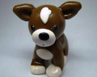 Brown Little Chihuahua - Miniature Polymer Clay Dog - Animal Figure