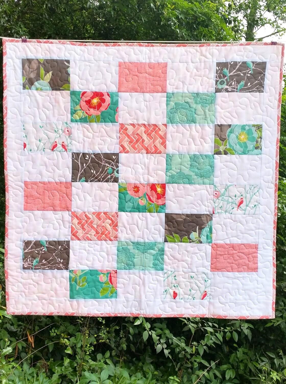 Baby Girl Quilt Pink White Aqua Gray Cottage Garden