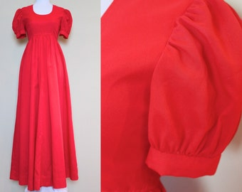 Red Handmade Dress / Vintage Puff Sleeve Dress / Floor Length Dress