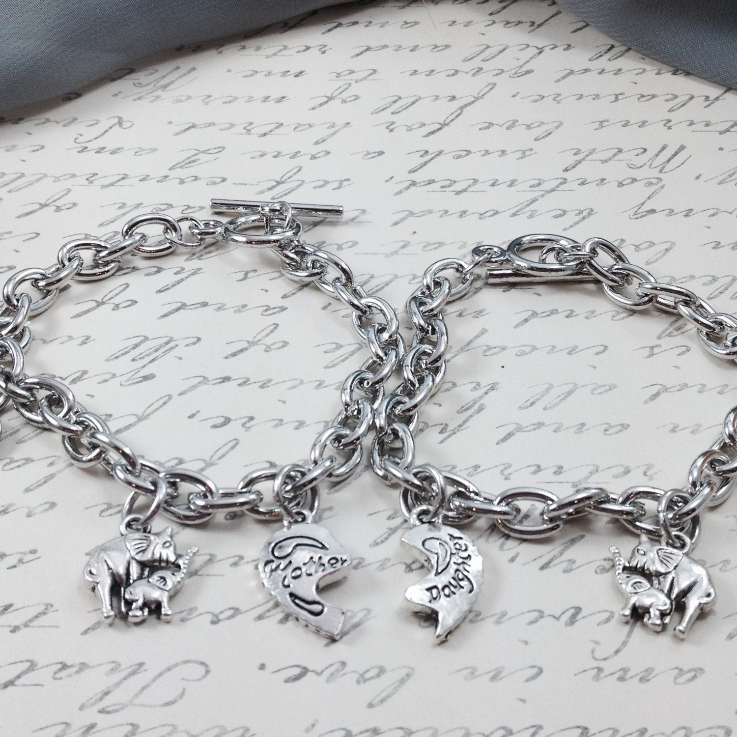 Mothers Charm Bracelet: Mother Daughter Bracelet Elephant Charm Bracelet Toggle