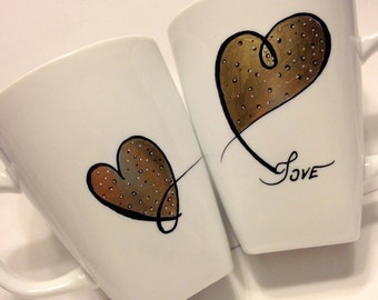 Hand Painted Porcelain Mug Set