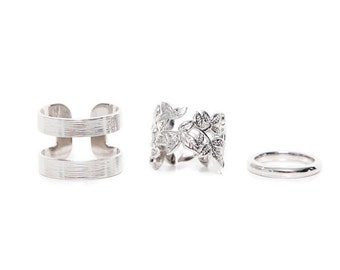 3pc Stylish Silver Metallic Rings