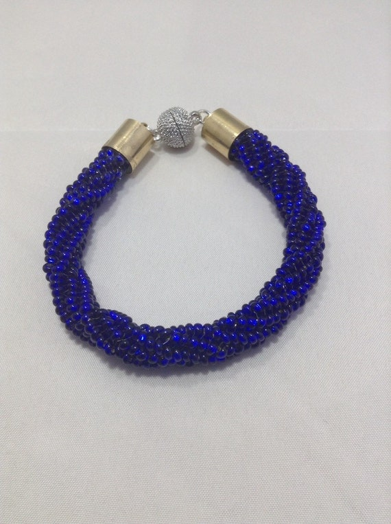 cobalt blue twisted herringbone bracelet by lesannahsbracelets