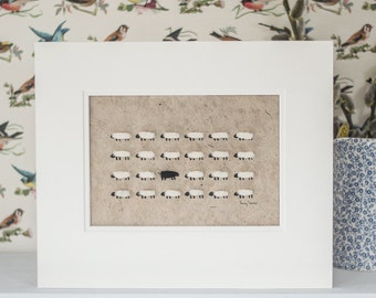 Woolly Sheep Flock With One Black Sheep Hand Finished Print