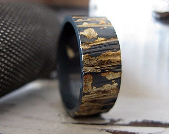 Rustic Mens Wedding Band Unique Mens Wedding Band Mens Wedding Ring Oxidized Sterling Silver Gold 8mm Bark Texture Artisan Commitment Ring