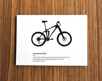 Mountain Bike Definition Postcard Print - Bicycle, Mountains, Card, Gift