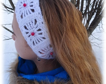 Headwarmer, earwarmer, headband, white with red beads -  girls crochet headband - hairband. Handmade