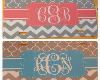 monogrammed license plate personalized license plate chevron pink blue initials new metal monogrammed car tag personalized car tag